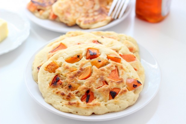 Upside Down Persimmon Pancakes