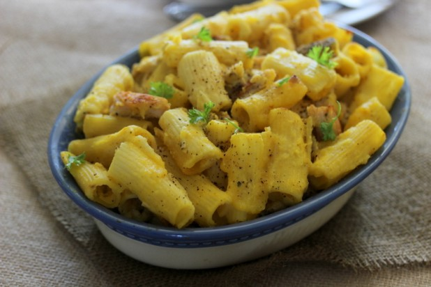 Pasta Al Forno (Baked Ziti) with Pumpkin and Chicken (Diary Free)