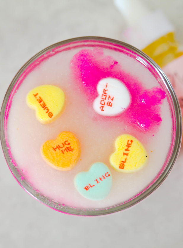 Made with real candy make this easy all-natural conversation hearts body Scrub DIY! Just in time for valentine's day!