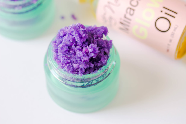All natural grape lip scrub you can make at home with only three simple ingrediants. This lip scrub is packed full of flavor!