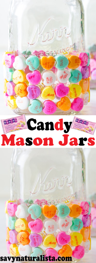 Easy Candy Valentines day mason jars that you can give away as gifts. Only three ingredients required!