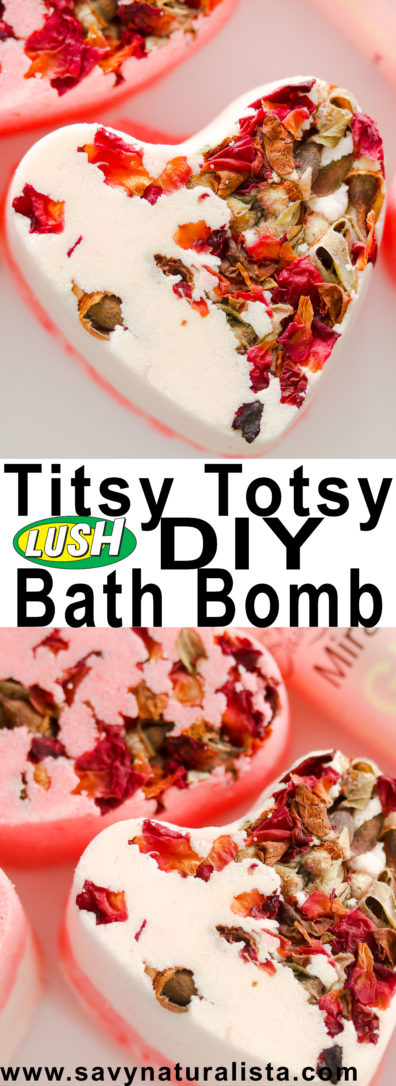 This Titsy Totsy bath bomb is a Lush inspired copycat that included all natural rose buds, coconut oil and love spell fragrance oil to make this a romantic treat!
