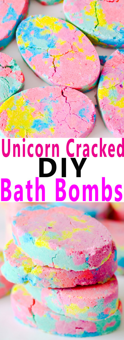 Make these easy unicorn cracked bath bombs can be made at home with a few simple ingredients for the perfect gift and a relaxing bath time.